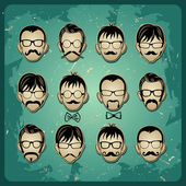 Faces with Mustaches, sunglasses and a bow tie avatars — Stock Vector