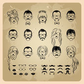 Vintage girls faces with hair, sunglasses and shape of the lips.mans Faces with Mustaches, sunglasses,eyeglass es and a bow tie — Stock Vector