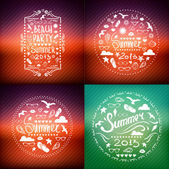 Creative graphic poster SET for your design. summer emblems. — Stock Vector