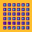 Colorful flat design icons for smart phone web applications interface  — Image vectorielle