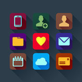 Colorful flat design icons for smart phone web applications interface — Stock Vector