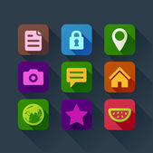 Colorful flat design icons for smart phone web applications interface — Cтоковый вектор