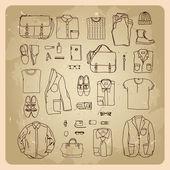 Men's clothes sketches — Stock Vector