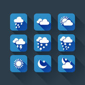 Weather app flat icons — Stock Vector