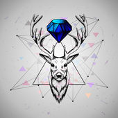 Deer with diamond — Stock Vector