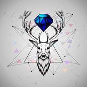 Deer with diamond — Stock Vector