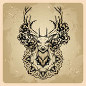 Deer with flowers and circle mandala — Stock Vector