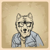 Wolf hipster in a jacket — Stock Vector