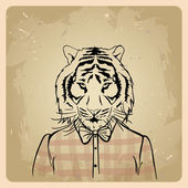 Tiger hipster in a shirt — Stock Vector