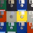 Many computer floppy disks arranged as a pattern — Stock Photo #14137686