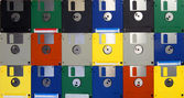 Many computer floppy disks arranged as a pattern — Stock Photo