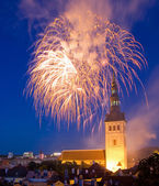 Firefoworks in Tallinn, Estonia — 图库照片
