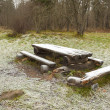 Frosty bench and table — Stock Photo