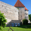 Stock Photo: Crossbow and targets and curtain wall of Tallinn