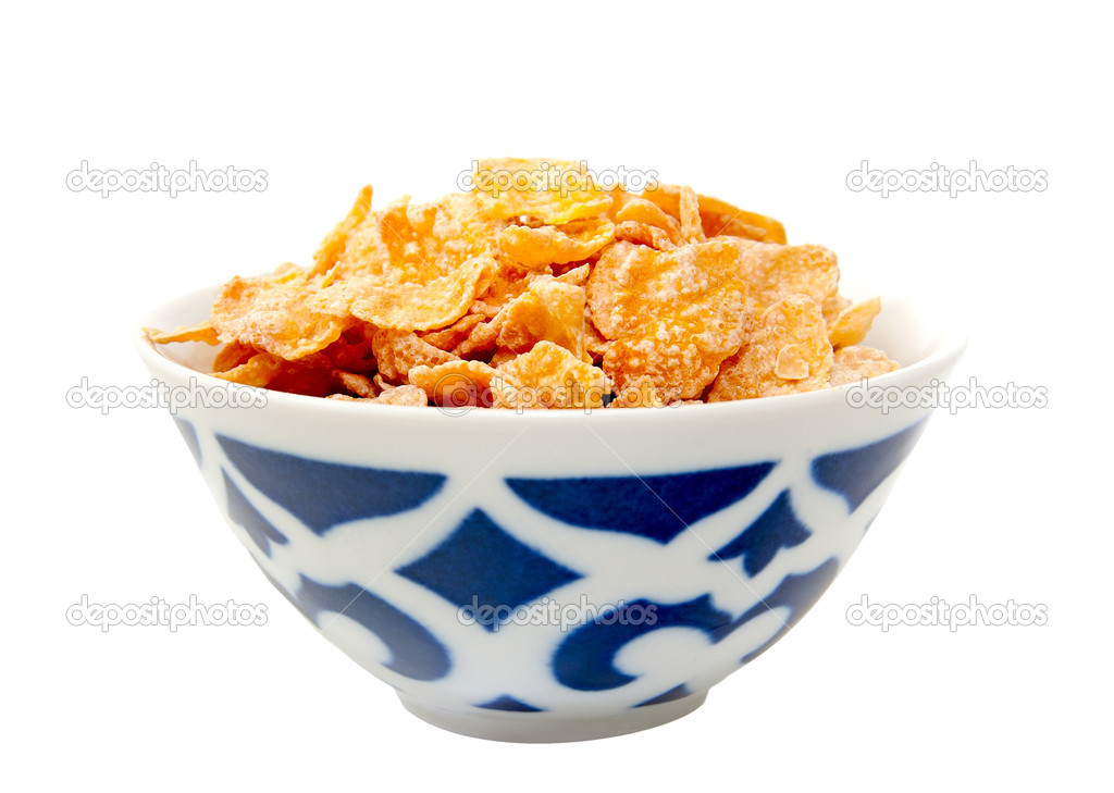 Bowl with cornflakes isolated to white background — Stock Photo #15890241