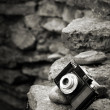 Small SLR film camera on rocks - Stock Photo