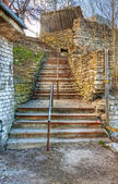 Old stairway and handrail — Stock Photo
