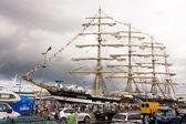 Tallinn, velero ruso kruzenshtern estonia - julio de 2011 — Foto de Stock