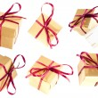Set of golden isolated gift boxes — Stock Photo