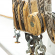 Ropes, pulley and shekel — Stock Photo