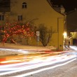 Car light trails in the Old Town of Tallinn, Estonia — Stock Photo