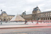 Pyramid of Louvre in the evening — Stock Photo