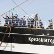 Crew of the Krusenstern ship greet its visitors — Stock Photo