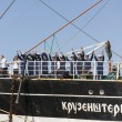 Stock Photo: Crew of Krusenstern ship greet its visitors