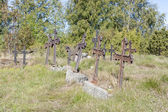 Metal crosses at graveyard — Foto Stock