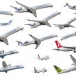 Stock Photo: Isolated airplanes of Europecompanies