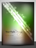 Abstract flyer design with green shiny waves, EPS 10 — Vecteur