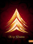 Beautiful Christmas Card with x mas tree , Sparkling flyer with red background Vector illustration. Eps 10 — Stock Vector
