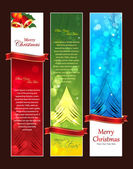 Beautiful Christmas Banners, Sparkling flyer with colorful background Vector illustration. bells, snowflakes, stars, Eps 10 — Stock Vector