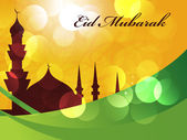 Beautiful Eid Mubarak Card Design with Nice Mosque and colorful Background, Eps 10 — Stockvector