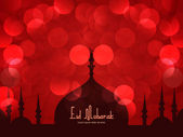 Beautiful Eid Mubarak Card Design with Nice Mosque and colorful Background, Eps 10 — Διανυσματικό Αρχείο