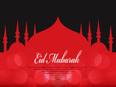 Beautiful Eid Mubarak Card Design with Nice Mosque and colorful Background, Eps 10 — Vettoriale Stock