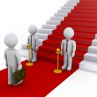 Businessman is refused access to stairs with red carpet — Stok fotoğraf #11826352