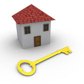 House with key in front of it — Stok fotoğraf