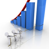 Business team putting in place column of rising graph — Stock Photo