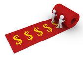Two unroll carpet of dollar symbols — Stock Photo