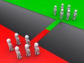 две команды, стоя на противоположных сторонах — Стоковое фото