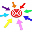 Stock Photo: Arrows pointing to target