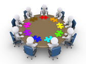 Businessmen in a meeting suggest different solutions — 图库照片