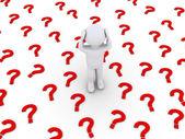 Pessoa está estressada por muitos símbolos de ponto de interrogação — Foto Stock