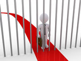 Businessman path is blocked by metal bars — Stock Photo