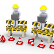 Under construction signs and two workers with laptops — Stock Photo
