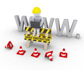 Under construction sign and worker in front of www letters — Stock Photo