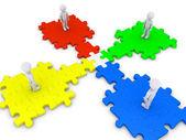 Spezielle puzzleteil verbindet vier personen — Stockfoto
