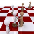 Two businessmen on chessboard shake hands — Stock Photo