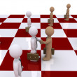 Two businessmen on chessboard shake hands — Stock Photo #42203053